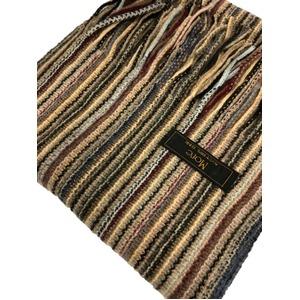 おすすめ 機屋直仕入れ 日本製カシミヤ100% 織マフラー マルチストライプ キャメル系カラー ざっくり編み