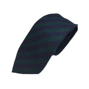 ウール混秋冬シルクネクタイ Clarkプレミアム 手縫い仕立て 西陣ネクタイブラウン×グリーンストライプ