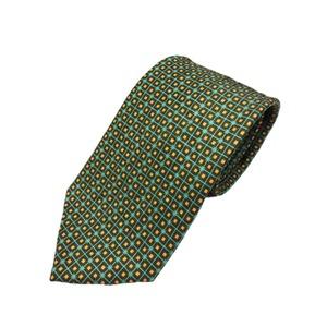 グランネクタイ西陣手縫い仕立てプリントシルクウォッシャブル(シワ加工)ネクタイ&チーフセットグリーン&イエロー