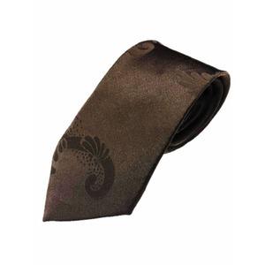 グランネクタイ西陣手縫い仕立て無地サテンシルクネクタイ&チーフセットダークブラウン