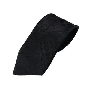 グランネクタイ西陣手縫い仕立て無地サテンシルクネクタイ&チーフセットブラック織柄