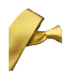 スマートタイ 無地・サテンシリーズ シルク100% イエロー 大剣幅約6.5cm