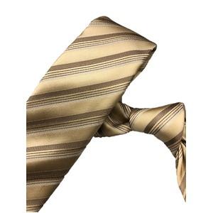 スマートタイ 無地・サテンシリーズ シルク100% ゴールドストライプ 大剣幅約6.5cm