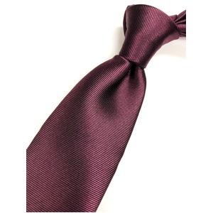 上級織り無地 シルク100%ネクタイ ワインレッド
