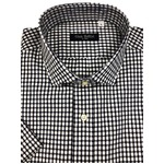 イタリア製ファクトリー コットン半袖シャツ チェック ネイビー&ホワイト Lサイズ