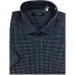 人気 イタリア製ファクトリー コットン半袖シャツ チェック ネイビー凹凸夏生地仕様 Lサイズ