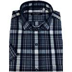 人気 イタリア製ファクトリー コットン半袖シャツ チェック ネイビー 長細糸シャツ Lサイズ
