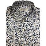 人気 イタリア製ファクトリー コットン半袖シャツ フラワー 花柄 ホワイト Mサイズ