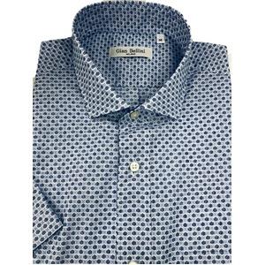 人気 イタリア製ファクトリー コットン半袖シャツ 水玉 ブルー Lサイズ