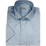 人気 イタリア製ファクトリー コットン半袖シャツ ブルー Mサイズ