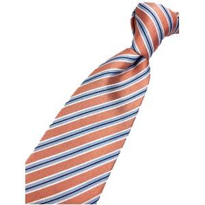 おすすめ 手縫いシルク100%ネクタイ ストライプ サーモン