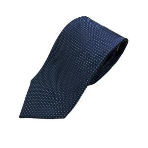 日本製シルク100%ネクタイ ピンドット ネイビー/グリーン