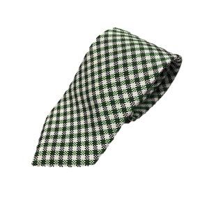 日本製シルク100%ネクタイ チェック グリーン