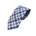 日本製シルク100%ネクタイ チェック ブルー