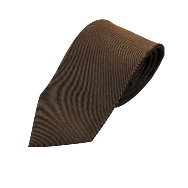 日本製シルク100%ネクタイ 無地織り ブラウン