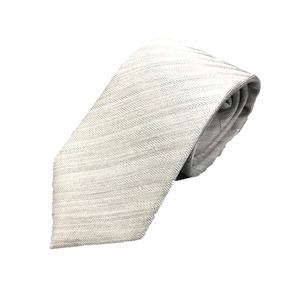 日本製シルク100%ネクタイ 無地織り ホワイトシルバー ヘリンボーン