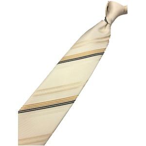 日本製シルク100%ネクタイ 無地織り ストライプ ゴールド/クリーム