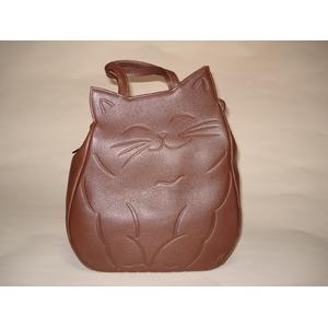 牛革猫型おすましリュック チョコ 〔リュックサック/ハンドバッグ〕