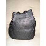 牛革猫型おすましリュック ブラック 〔リュックサック/ハンドバッグ〕
