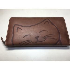 牛革猫型ロングウォレット おすまし ブラウン 〔長財布〕