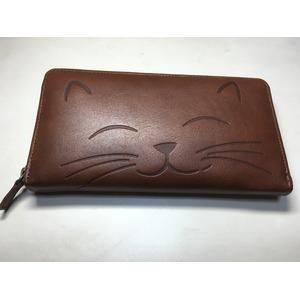 牛革猫型ロングウォレット にこ〜 ブラウン 〔長財布〕