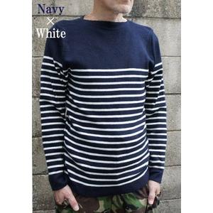 フランス海軍 パネルボーダーセーターJW044YN ネイビー×オフ ホワイト ネイビー×オフ ホワイト 104サイズ( L) 【 レプリカ 】