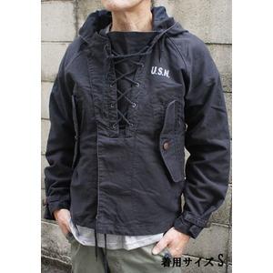 アメリカ海軍 ウェットウェザーパーカー/ジャケット 【 Lサイズ 】 綿100% JP050YN ブラック 【 レプリカ 】