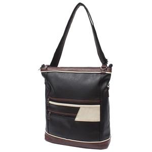 水に強い合皮皮革・中身が少ない時は上部を折りたたんで 違うバッグを持った気分2WAYバッグ IK131 クロ