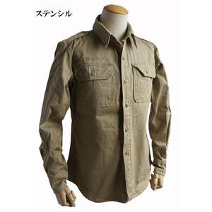 USタイプ M46 コットンカーキシャツ ワンウォッシュ ステンシル XS 【 レプリカ 】