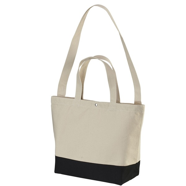 帆布製綿キャンパスコットンスイッチングトートバッグ 2WAY CB1490 ナチュラル/ブラックf00