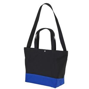 帆布製綿キャンパスコットンスイッチングトートバッグ2WAYCB1490ブラック/コバルトブルー