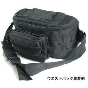 モール対応防水布使用 ウェストポーチ ブラック f05