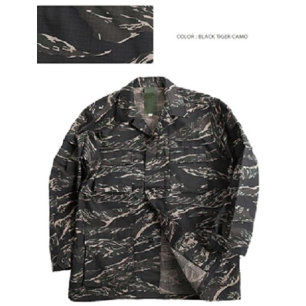 アメリカ軍 BDUジャケット/迷彩ジャケット  Lサイズ  JB001YN リップストップ ブラック タイガー  レプリカ