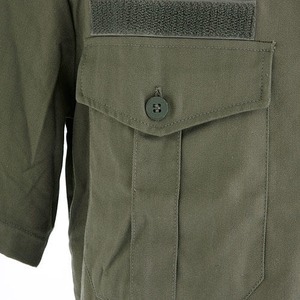フランス軍放出 チャドシャツ( トロピカル半袖シャツ) 【 Lサイズ 】 ヘリボーン生地 オリーブ 〔未使用デッドストック〕