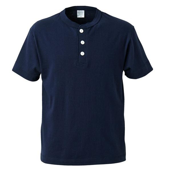 アウトフィットに最適ヘビーウェイト5.6オンスセミコーマヘンリーネックTシャツ2枚セット ネイビー+ミックスグレー Lサイズf00