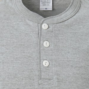 アウトフィットに最適ヘビーウェイト5.6オンスセミコーマヘンリーネックTシャツ2枚セット ホワイト+ミックスグレー Mサイズ f04