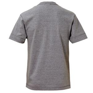 アウトフィットに最適ヘビーウェイト5.6オンスセミコーマヘンリーネックTシャツ2枚セット ブラック+ミックスグレー Mサイズ h03