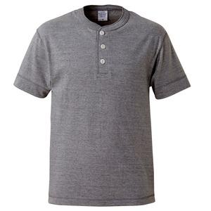 アウトフィットに最適ヘビーウェイト5.6オンスセミコーマヘンリーネックTシャツ2枚セット ブラック+ミックスグレー Lサイズ h01