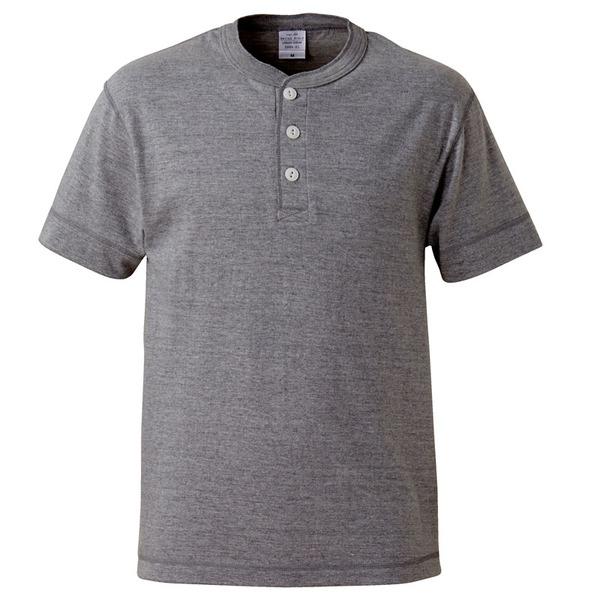 アウトフィットに最適ヘビーウェイト5.6オンスセミコーマヘンリーネックTシャツ2枚セット ブラック+ミックスグレー Lサイズf00