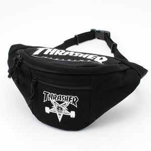 「THRASHER」綿キャンパス帆布製ウェスト&ボディー2WAYバッグブラック×スケートゴート h01