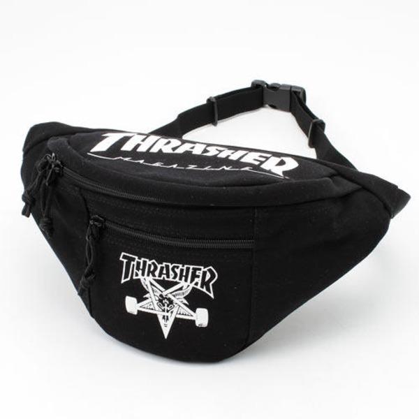 「THRASHER」綿キャンパス帆布製ウェスト&ボディー2WAYバッグブラック×スケートゴートf00
