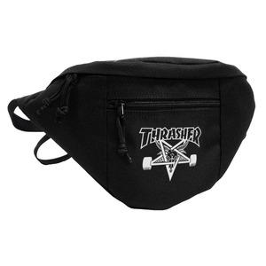 「THRASHER」綿キャンパス帆布製ウェスト&ボディー2WAYバッグブラック×スケートゴート h02