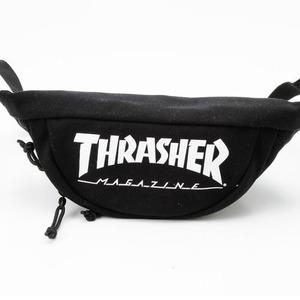 「THRASHER」綿キャンパス帆布製ウェスト&ボディー2WAYバッグブラック×スケートゴート h03
