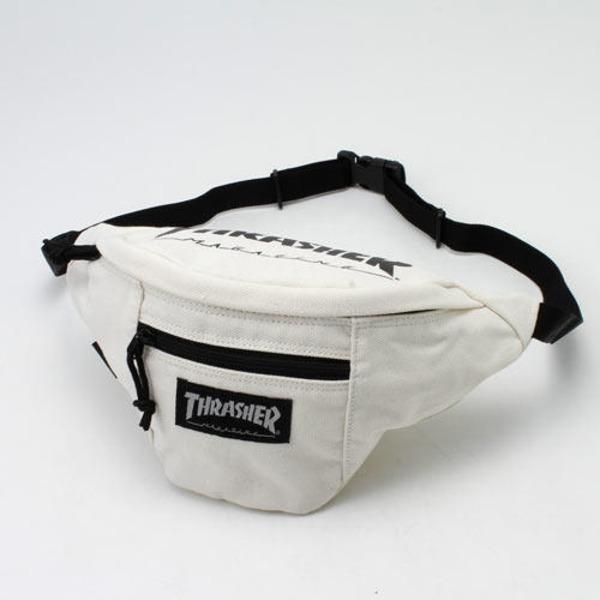 「THRASHER」綿キャンパス帆布製ウェスト&ボディー2WAYバッグアイボリー×マグロゴf00
