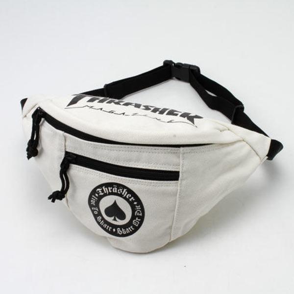 「THRASHER」綿キャンパス帆布製ウェスト&ボディー2WAYバッグアイボリー×アースf00