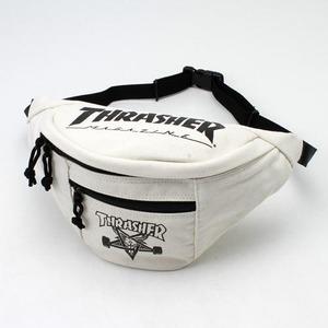 「THRASHER」綿キャンパス帆布製ウェスト&ボディー2WAYバッグアイボリー×スケートゴート h01