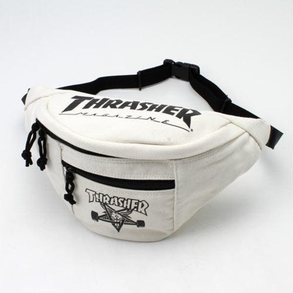 「THRASHER」綿キャンパス帆布製ウェスト&ボディー2WAYバッグアイボリー×スケートゴートf00