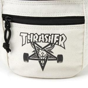 「THRASHER」綿キャンパス帆布製ウェスト&ボディー2WAYバッグアイボリー×スケートゴート h03