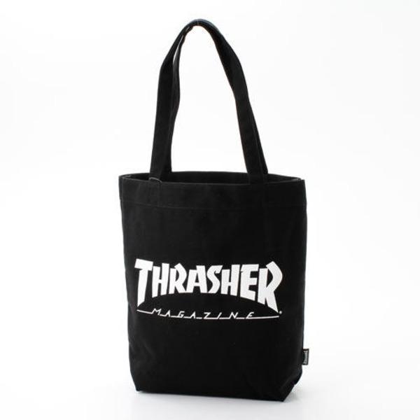 「THRASHER」綿キャンパス帆布製トートバックブラック×マグロゴf00