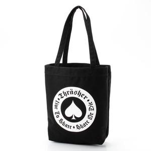 「THRASHER」綿キャンパス帆布製トートバッグブラック×アース h01